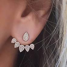 FAMSHIN 2017 nouvelle goutte chaude cristaux boucle doreille pour les femmes couleur or Double face mode bijoux boucles doreilles femme oreille brincos