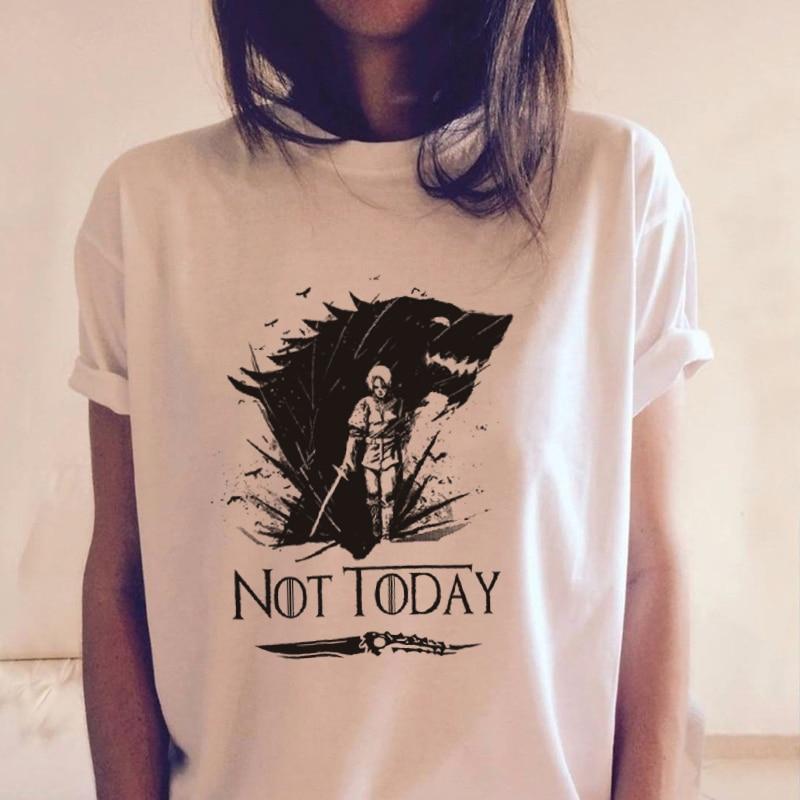 Camiseta Arya Stark Not Today para mujer Valar Morghulis Juego de tronos Hot TV Show, camisetas impresas, camisetas blancas de moda Harajuku