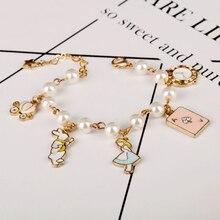Mqchun Mode Vrouwen Sieraden Accessoires Leuke Alice In Wonderland Konijn Klok Imitatie Parel Link Chain Armband Charm Bangle