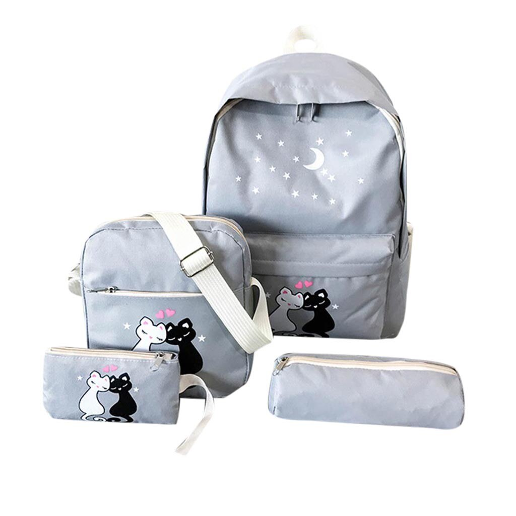 4Pcs/set  Canvas Women Backpack Schoolbag Printing Cute Cat School Bag Bagpack for Teenager Girls Sac a Dos Mochila Feminina#YL5