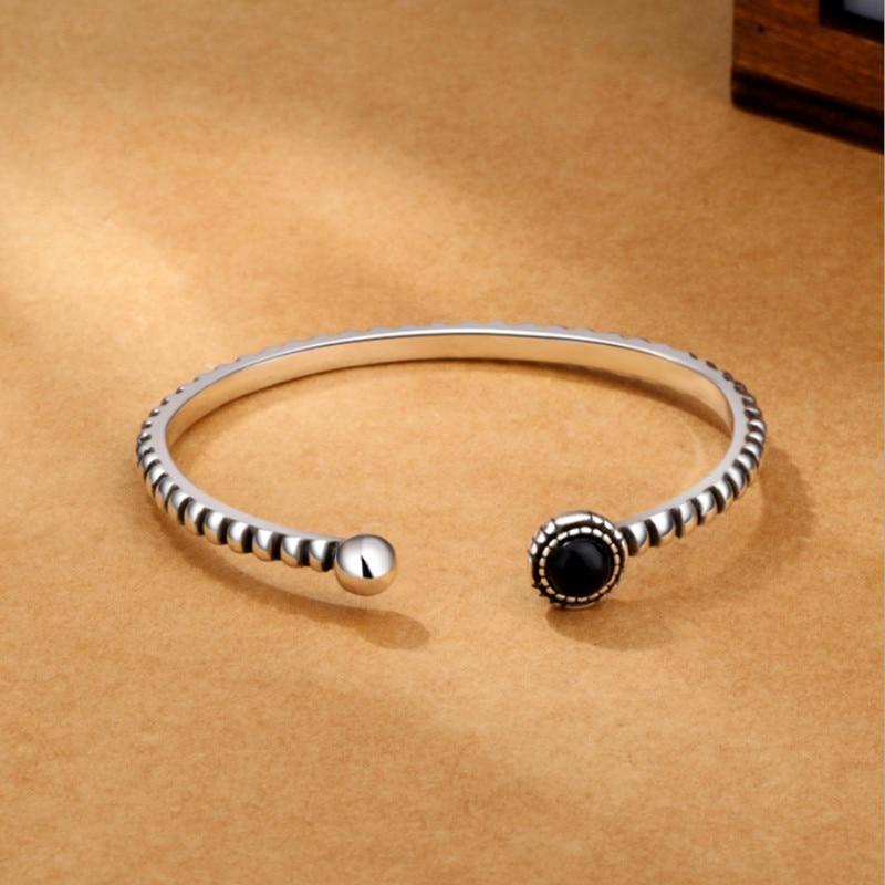 sa silverage 925 sterling silver round bracelets New Arrival Retro 925 Sterling Silver Jewelry Bracelets Personality Round Black Gem Twist Wild Exquisite Bangles