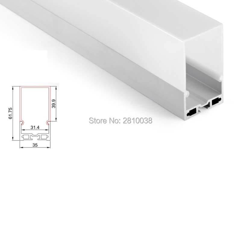 100 X 2M Sets/Lot Surface mounting led profile aluminum Deepest square shape aluminium led channels for ceiling lights