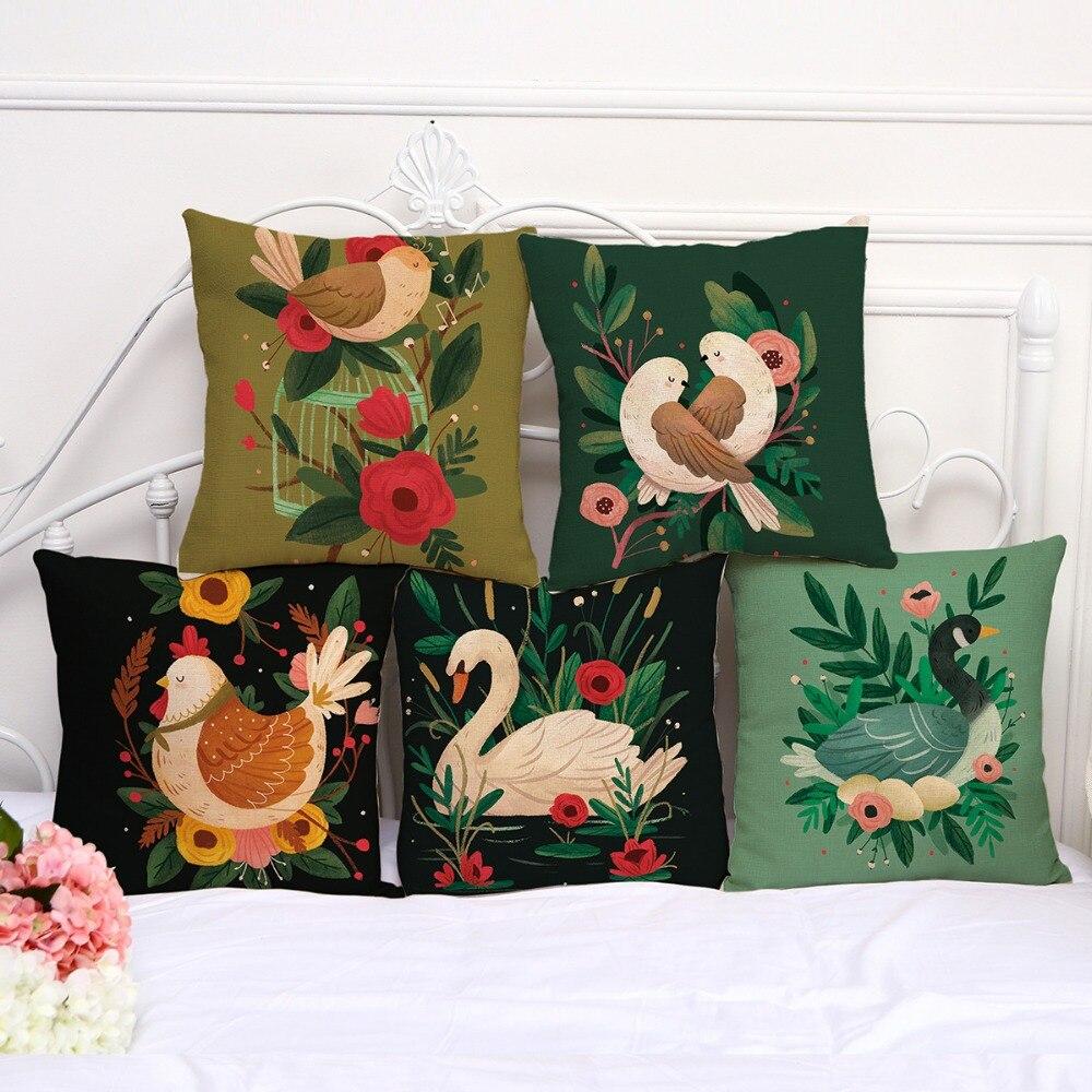 Funda de almohada decorativa pájaro Cisne chica funda de almohada 17,5 pulgadas de lino de algodón silla almohada cubierta A1080