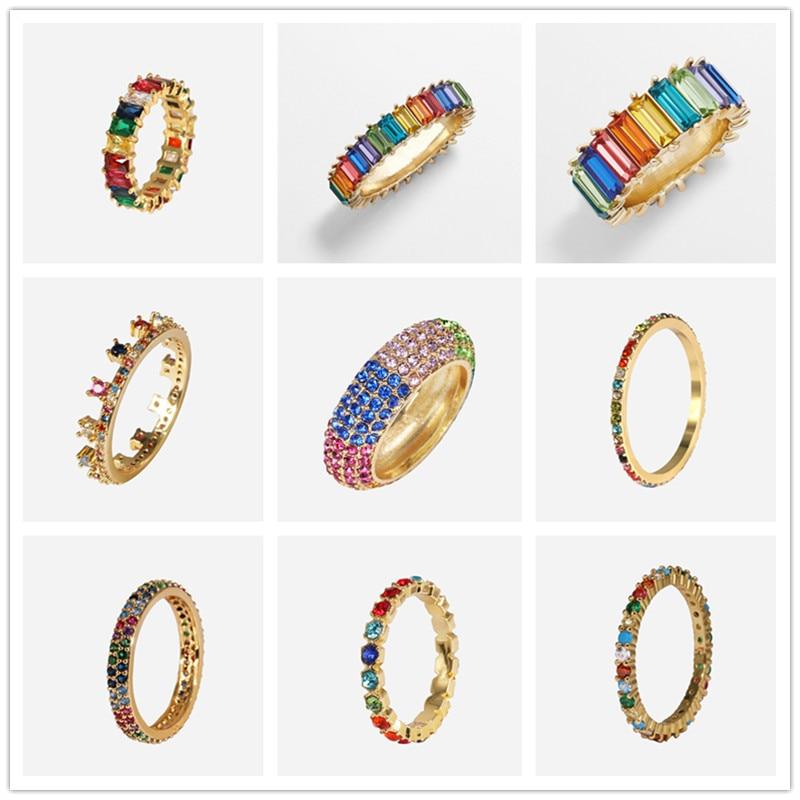 JURAN Multicolor Baguette T Ring Engagement 925 Sterling Zilveren Regenboog Trapezium Stone Ringen Voor Vrouwen Accessoires Bruiloft Band