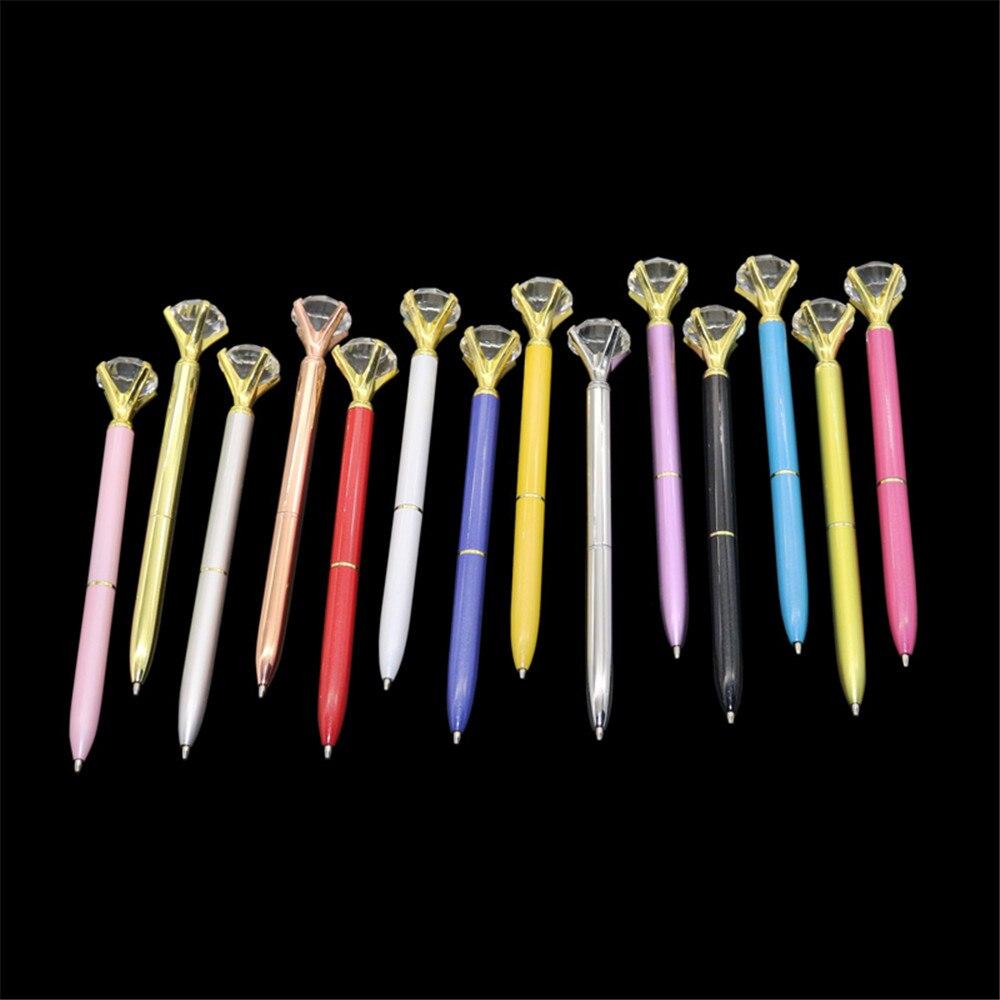 Kawaii esferográfica caneta grande gem metal bola caneta com grande diamante azul e preto magia caneta moda escola material de escritório