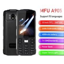 "MFU 2G Feature Rugged Phone 3.5"" Large Display 4000mAh Power Bank Tri Sim Big Volume Torch Light Quick Call Keyboard Cellphone"