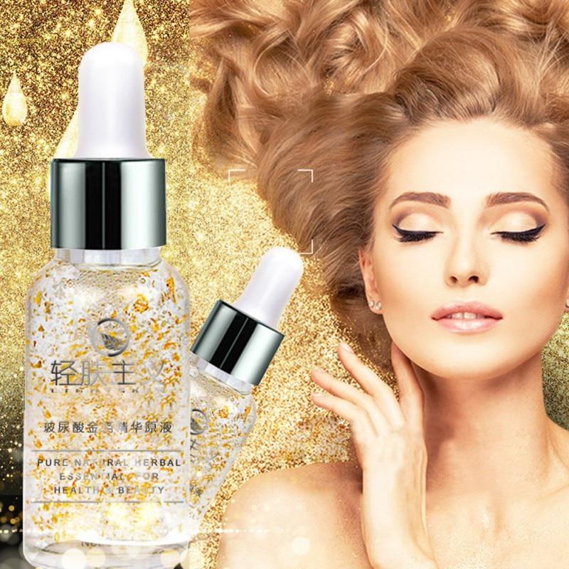 Crema de día de esencia de oro de 24 K, cuidado facial antiarrugas, solución hidratante de ácido hialurónico para blanqueamiento de colágeno antienvejecimiento