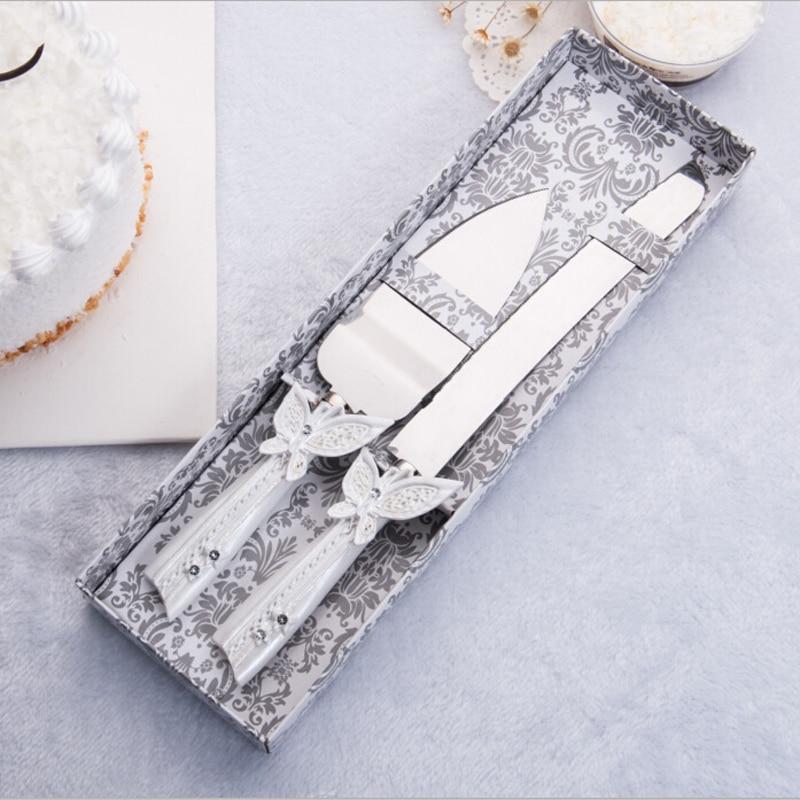 2017 venda favores do casamento e presentes frete grátis personalizado borboleta bolo de casamento faca servindo conjunto decoração personalizada