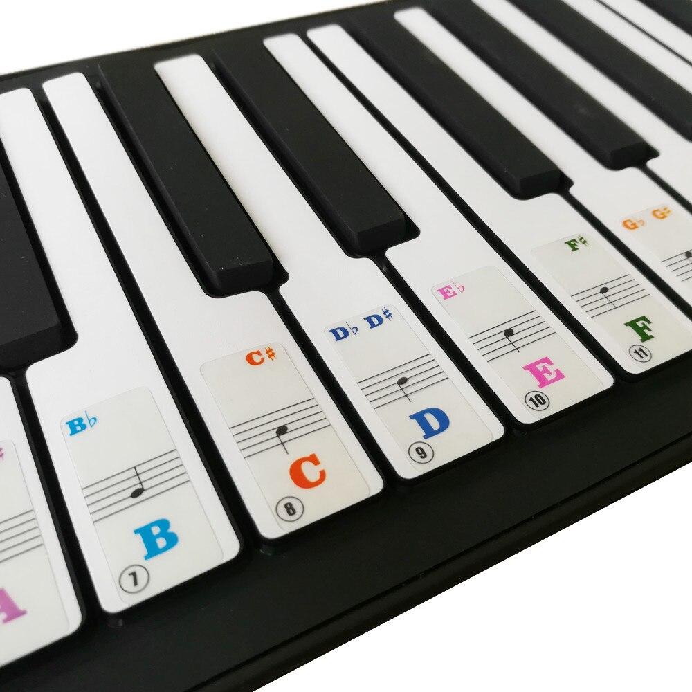 Nueva llegada extraíble transparente Teclado de Piano pegatinas para 61-clave teclados para niños principiantes práctica Piano