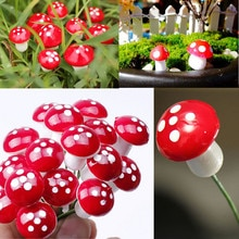 NEW Hot Koop 10Pcs 2cm Kunstmatige Mini Paddestoel Miniaturen Fee Tuin Mos Terrarium Hars Ambachten Decoraties Stakes Craft
