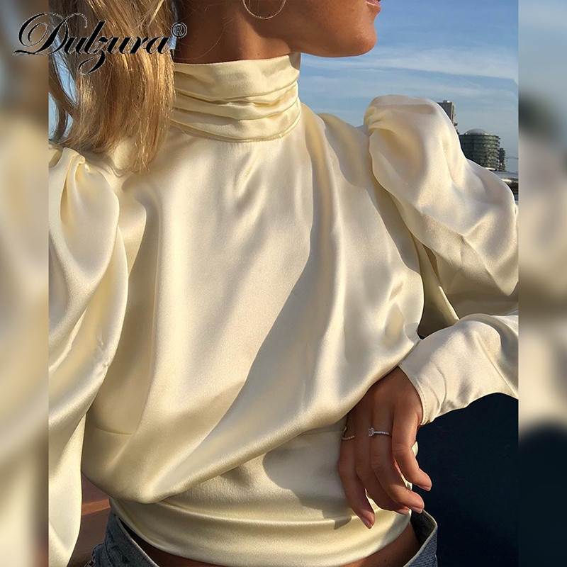 Dulzura lange hülse geraffte high neck backless spitze up tunika bluse 2018 herbst winter frauen casual hemd open back top