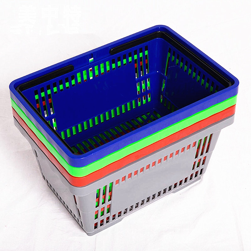 Good Firmly Quality Plastic Supermarket Shopping Baskets For Retail Stores Size 42x28x22cm Four Colors Available 28pcs/lot