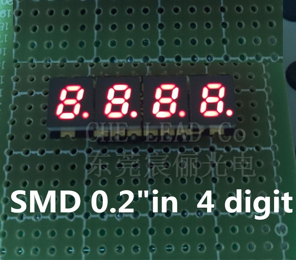 "Tubo Digital smd de 4 bits 0,2 pulgadas rojo 7 segmentos 0.2in 0,2 ""SMD pantalla LED 28,5*10*3,0mm pantalla DIGITAL cátodo común"