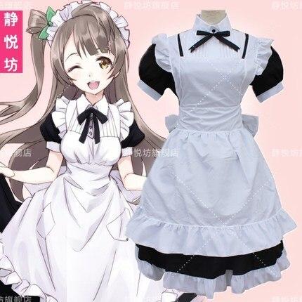 Anime de alta calidad Love Live Tojo Nozomi, disfraz de Cosplay, disfraz de Minami Kotori, juego de disfraz de sirvienta Kawaii Love Live
