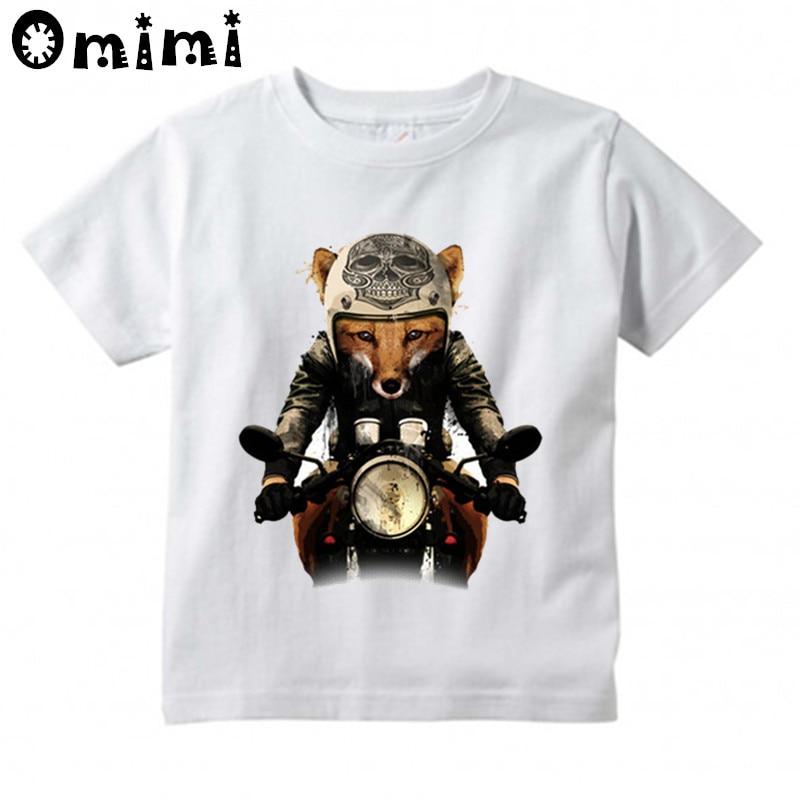 Jungen/Mädchen Fuchs Biker Bedruckte T Shirt Kinder Kurzarm Tops Baby kinder Lustige Weiße T-Shirt