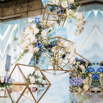 JAROWN Creative Multi Style Geometric Square Frame Floral Decor Set Iron Art Polygon Wedding Stage Props Window Display Decor