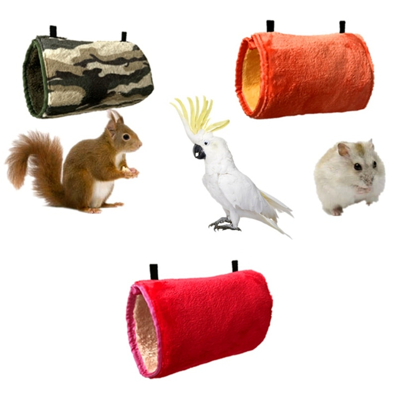 Hamaca de felpa para mascota, ardilla, conejillo de indias y hámster, cómodo columpio caliente, túnel de juguete con cadena