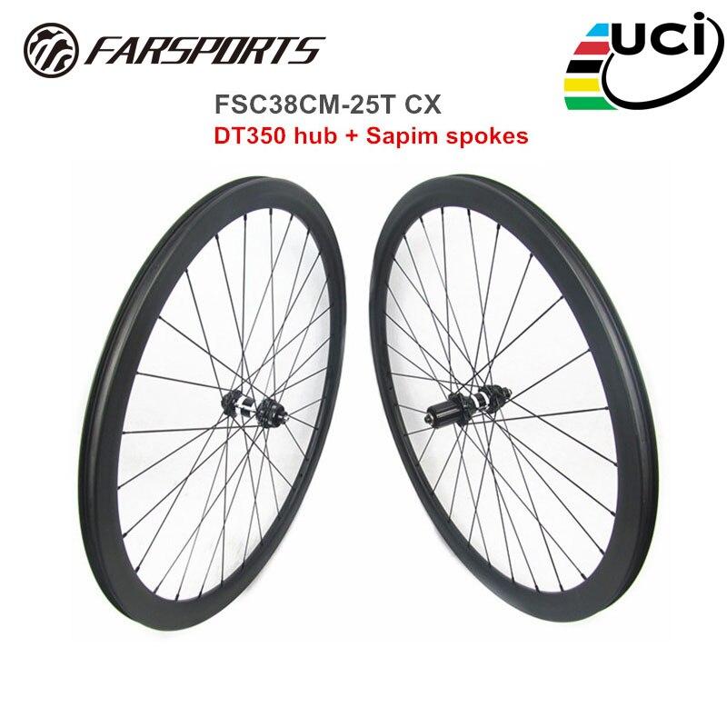 Farsports disco ruedas 38mm 25mm llantas para cubiertas tubeless listo 28H DT350 central-Centro de bloqueo de carretera sets ruedas de bicicleta 700C