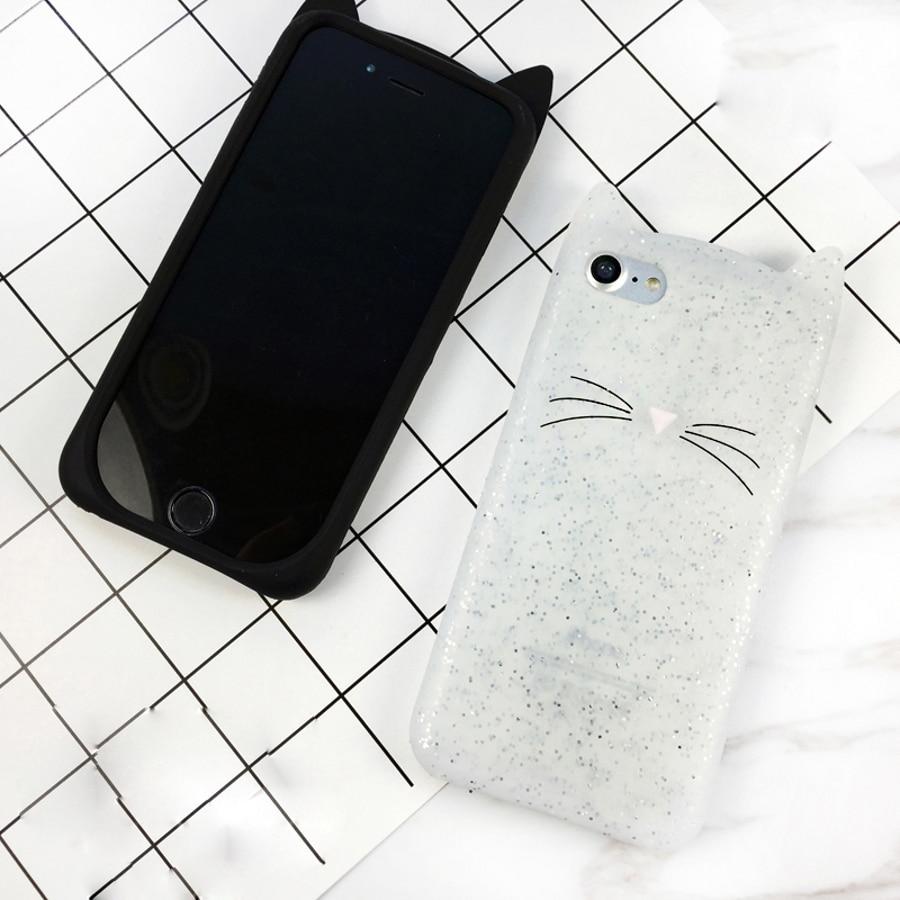 Linda funda de teléfono de dibujos animados 3D Beard Cat Kitty Glitter para LG G7 G6 Q6 funda de silicona suave Fundas para LG K4 K8 K10 2017 UE