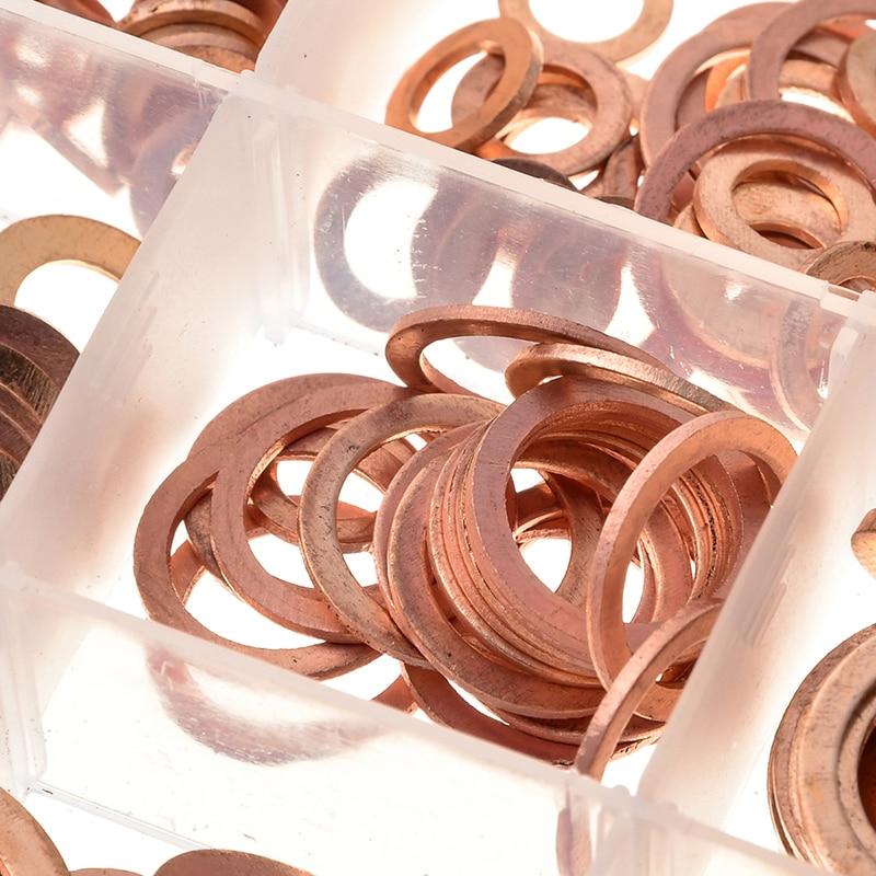 ZENHOSIT 280 piezas arandelas lisas de cobre sólido anillo plano de sellado 12 tamaños M5-M20 para pernos de tornillo sujetadores ferretería caja de accesorios
