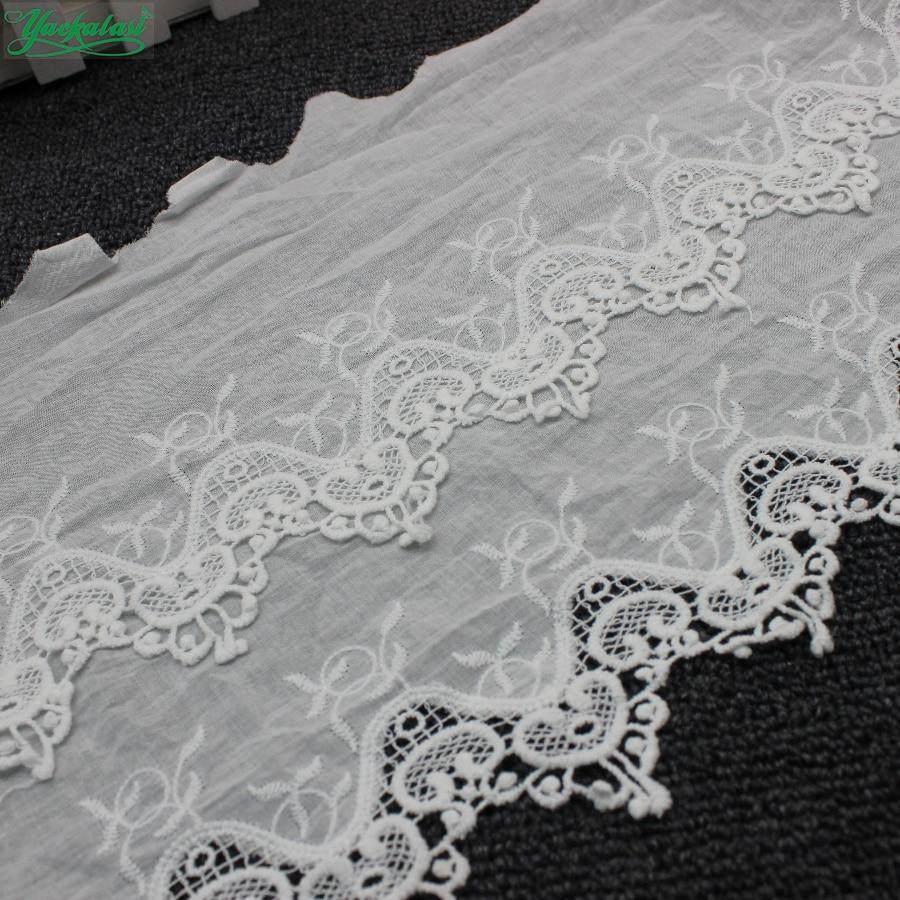 Yackalsi 7 Yds 100% algodón encaje ojal bordado telas algodón suizo Voile Appliqued 3D flor adornos Diy NatureWhite 25cm