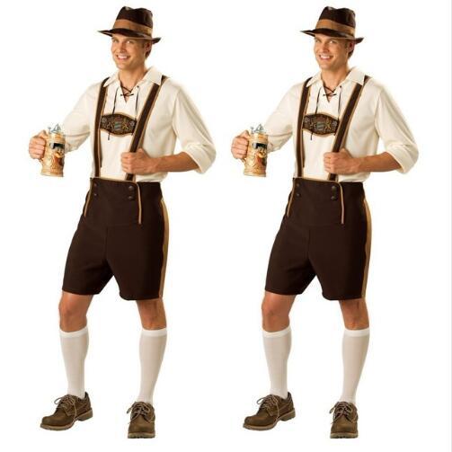 FREE SHIPPING Mens Lederhosen Oktoberfest Octoberfest Bavarian German Beer Costume size S-2XL