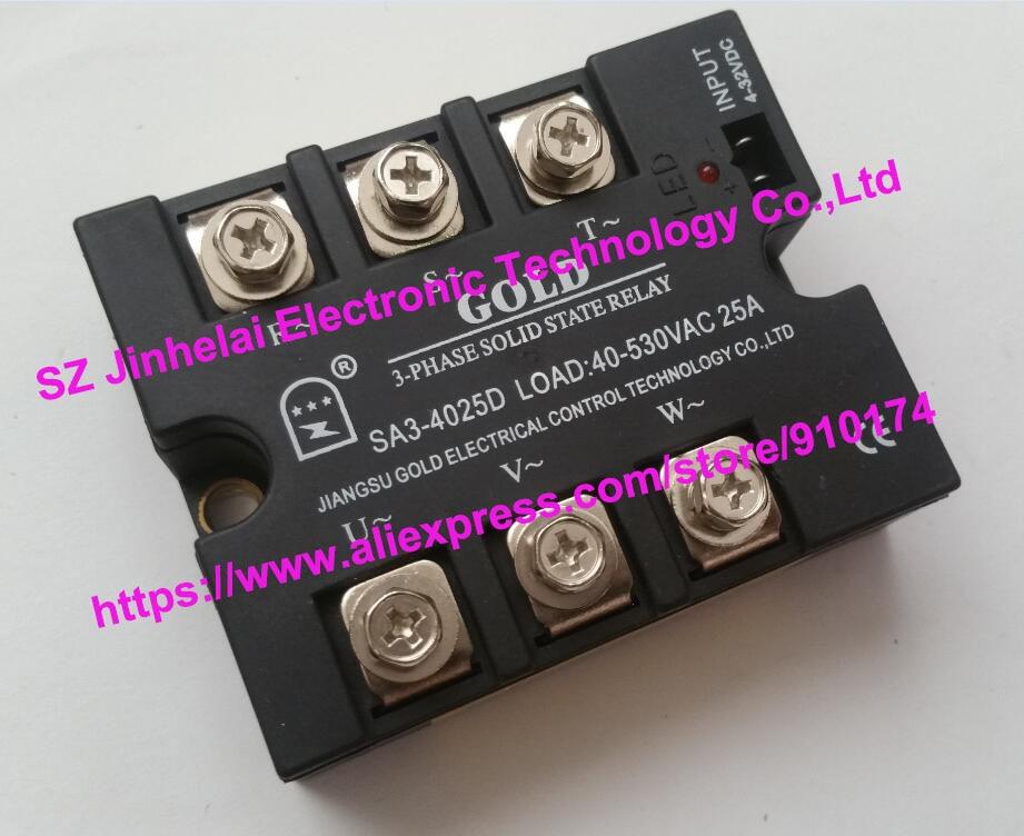 SA34025D(SA3-4025D) الذهب أصيلة الأصلي SSR 3-المرحلة DC التحكم AC الحالة الصلبة التتابع 25A