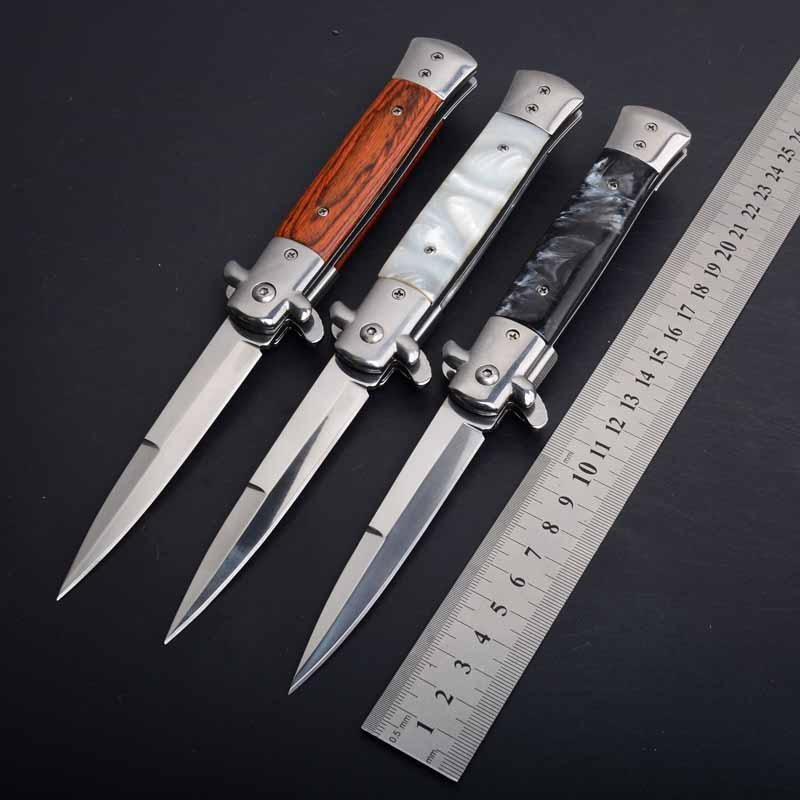 Hysenss italiano AKC Stiletto Mafia táctico cuchillo plegable 440C acrílico y mango de madera Camping caza supervivencia EDC herramientas