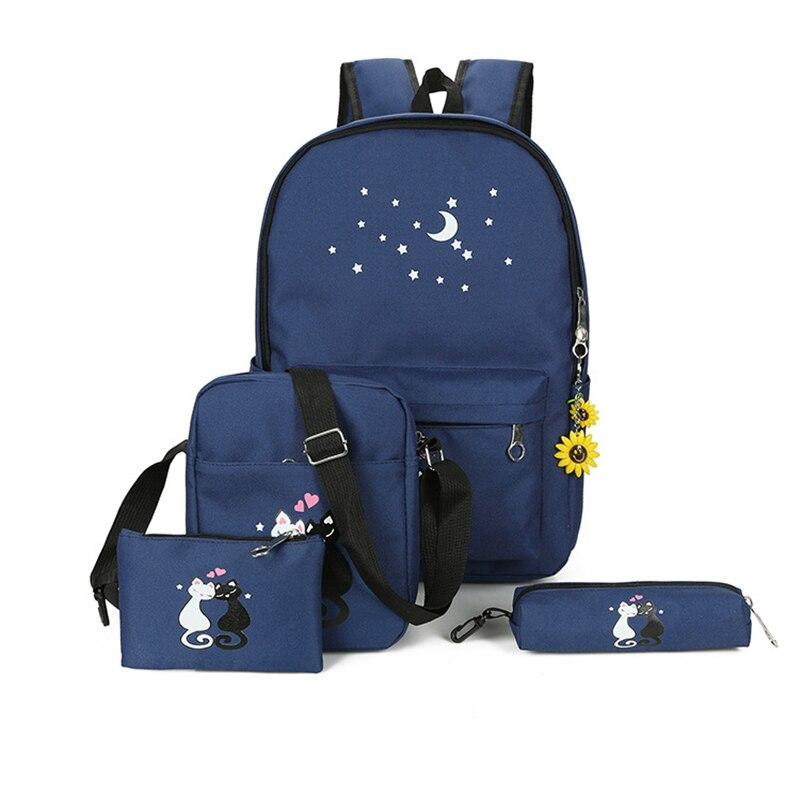 4 قطعة/المجموعة مجموعة حقيبة ظهر للأم لطيف القط قماش امرأة حقيبة ظهر للسفر خفيفة الوزن Bookbags الحقائب المدرسية للفتيات في سن المراهقة