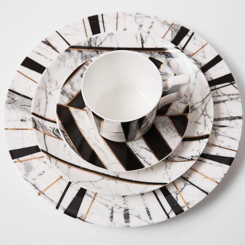 Marmoleado juego de platos para cenar china de hueso taza de cafe de porcelana de ceniza de hueso conjunto de cena juego de vajilla platos y placas