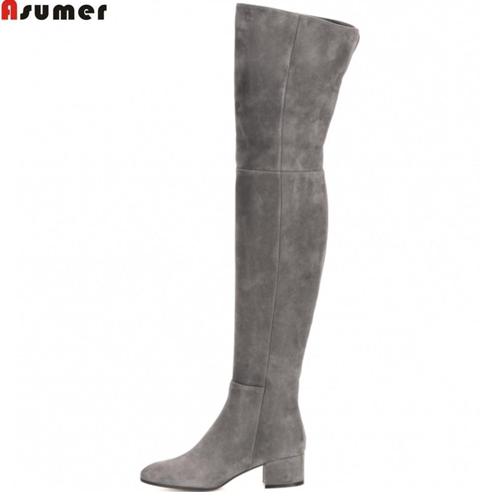 ASUMER أسود رمادي موضة النساء الأحذية مربع كعب البقر المدبوغ السيدات الأحذية سستة مربع كعب جلد فوق الركبة الأحذية