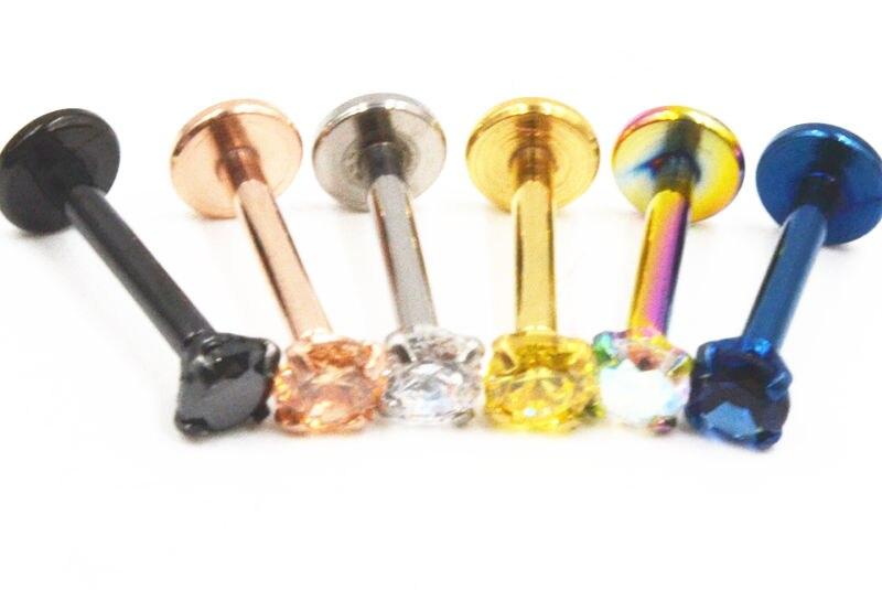 Envío gratuito 50 Uds joyería corporal 16G CZ Gems Acero quirúrgico cuerpo roscado joyería labio labret piercing anillo/oreja Helix Bar nuevo