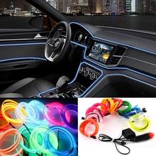 2m/3m/5m Car 12V LED Cold lights Flexible Neon EL Wire Auto Lamps on Car Cold Light Strips Line Interior Decoration Strips lamps