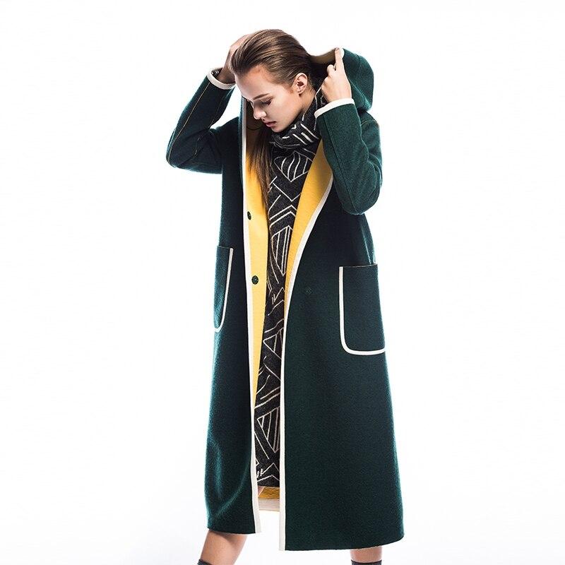 فايه مخزن الأصلي تصميم جديد وصول 2018 عارضة فضفاضة طويلة مقنعين رقيقة الصوف معطف المرأة