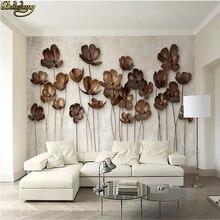 Beibehang-papier peint Photo 3D personnalisé   Grand mur, peinture 3d, fleur en fer 3D rétro, moderne, Simple, mur de télévision