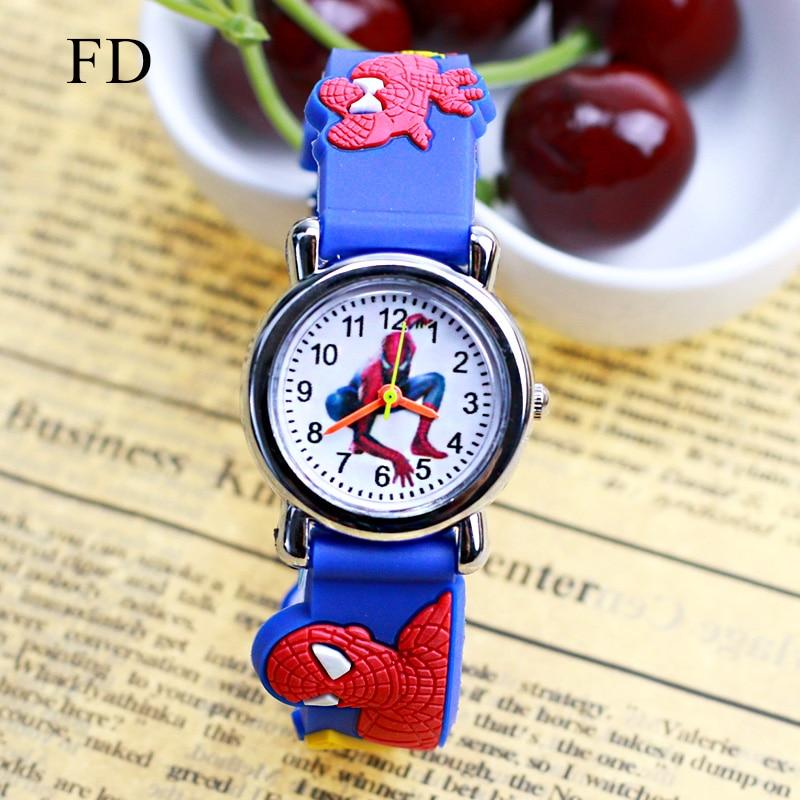Детские часы с 3D резиновым ремешком и рисунком Человека-паука, Спортивные кварцевые наручные часы для мальчиков, часы для детей