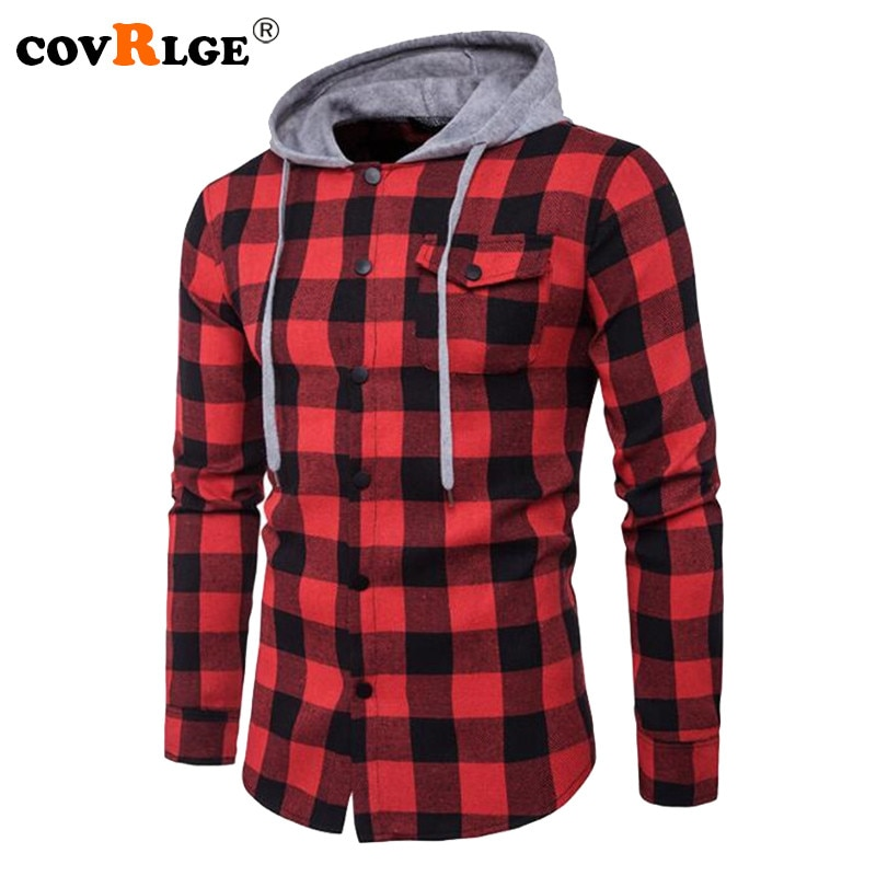 Covrlge Men Fashion Hooded Shirt 2018 Autumn New Men's Long Sleeve Red Plaid Shirts Casual Denim Shirt Big Sizes Menswear MCL182