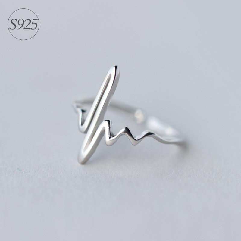 Реальное. Кольцо из стерлингового серебра 925 пробы, регулируемое кольцо с пульсом и сердцебиением для подарка любителю, Прямая поставка GTLJ786