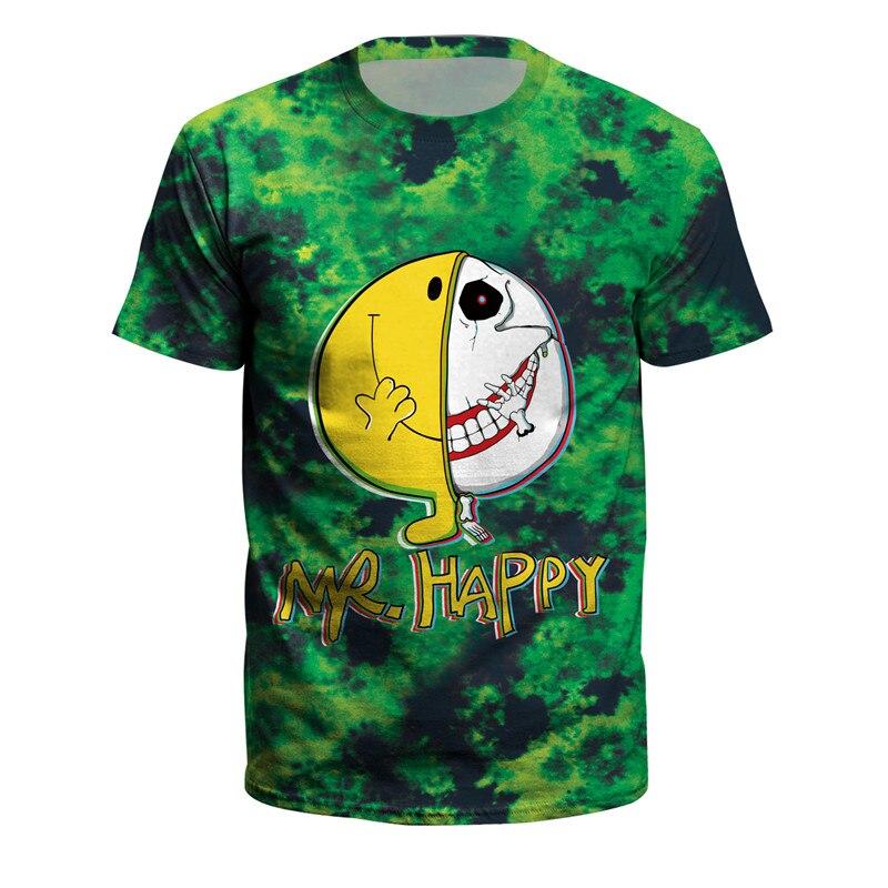 Hip Hop impresión suelta manga corta Jersey Unisex MR Happy Halloween 3d Impresión Digital camiseta verano hombres camiseta Dropship