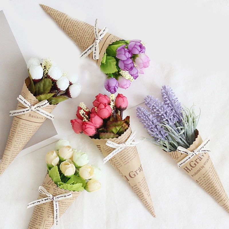 Mini Paper tube flower Popular Wedding Pure and fresh Decoration Photo props bouquet Dried flowers Birthday Present Accessories