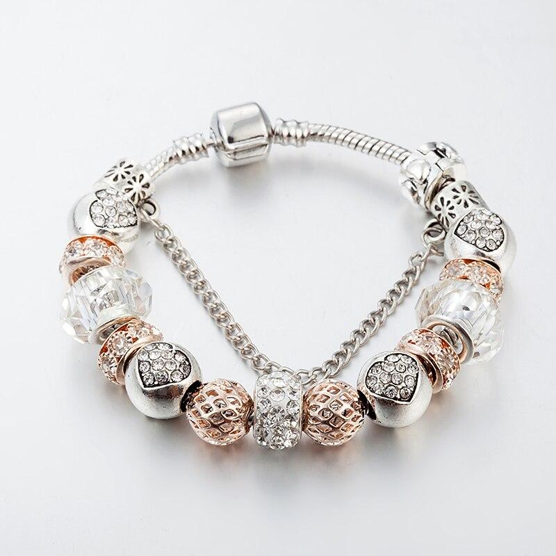 ANNAPAER 2019 pulseras de amuleto de corazón de plata de cadena de serpiente de Color de cristal cuentas Pan Pulseras originales para La Joyería de las mujeres B15175