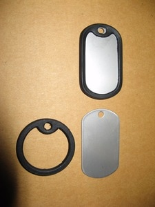 New Designer Mens  Style  Blank  Stainless Steel Dog Tag dog cat tag AND Black Circle Silencer