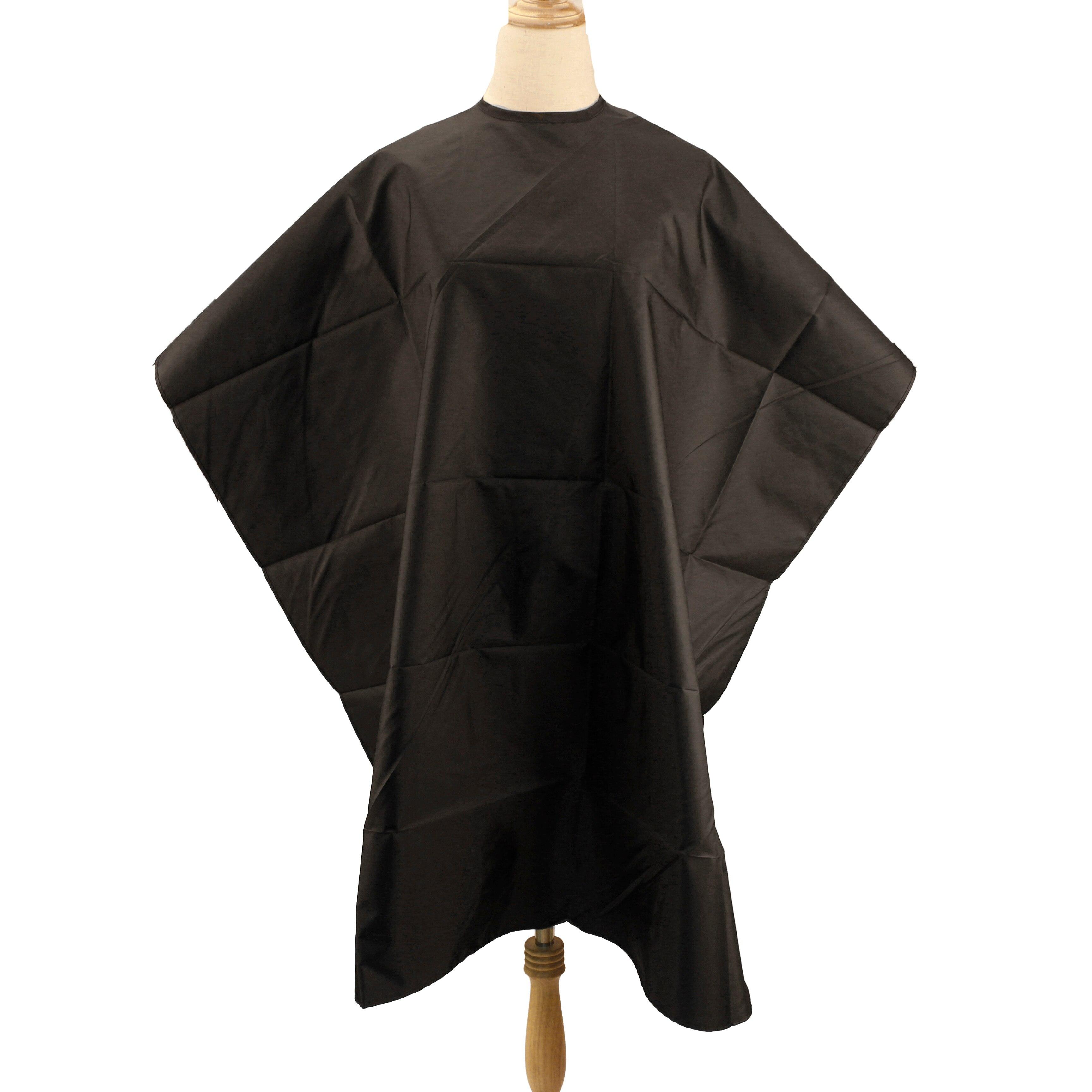 CAPA para peluquería de color negro liso capa para peluquería antiestática para adultos envoltura de peluquería de poliéster ligero corte de pelo bata capa para salón de belleza