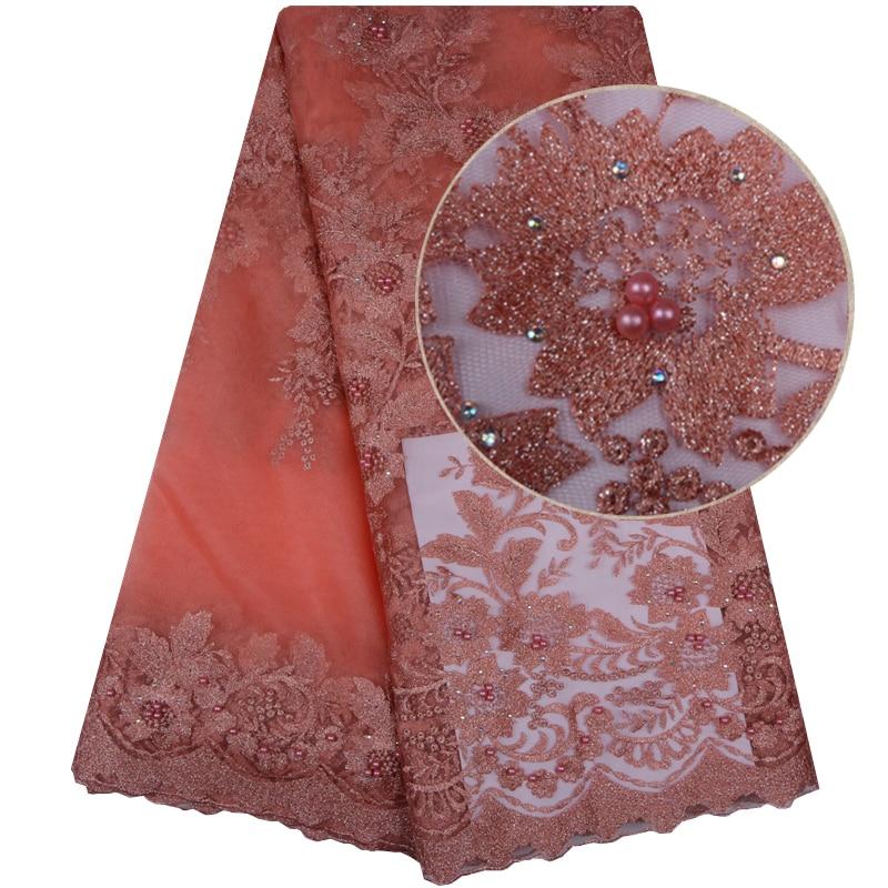 Alta calidad Africana telas de encaje Color melocotón lindo bordado francés tela de encaje, de tul, de lentejuelas para vestido de fiesta nigeriano 1099B