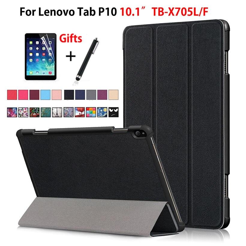 Funda para Lenovo Tab P10 TB-X705L TB-X705F de 10,1 pulgadas Funda inteligente para tableta soporte plegable magnético Delgado carcasa + película + bolígrafo