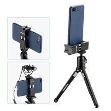 Ulanzi ST-02S alumínio telefone tripé montar girar vertical horizontal telefone titular braçadeira w montagem sapata fria para iphone x 8 7 plus
