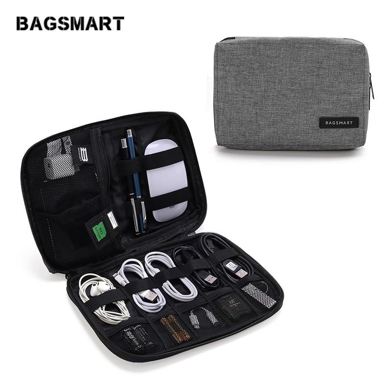 BAGSMART-حقيبة سفر مقاومة للماء ، حقيبة ملحقات إلكترونية ، كابل بيانات لسماعات iPhone ، بطاقة SD ، USB
