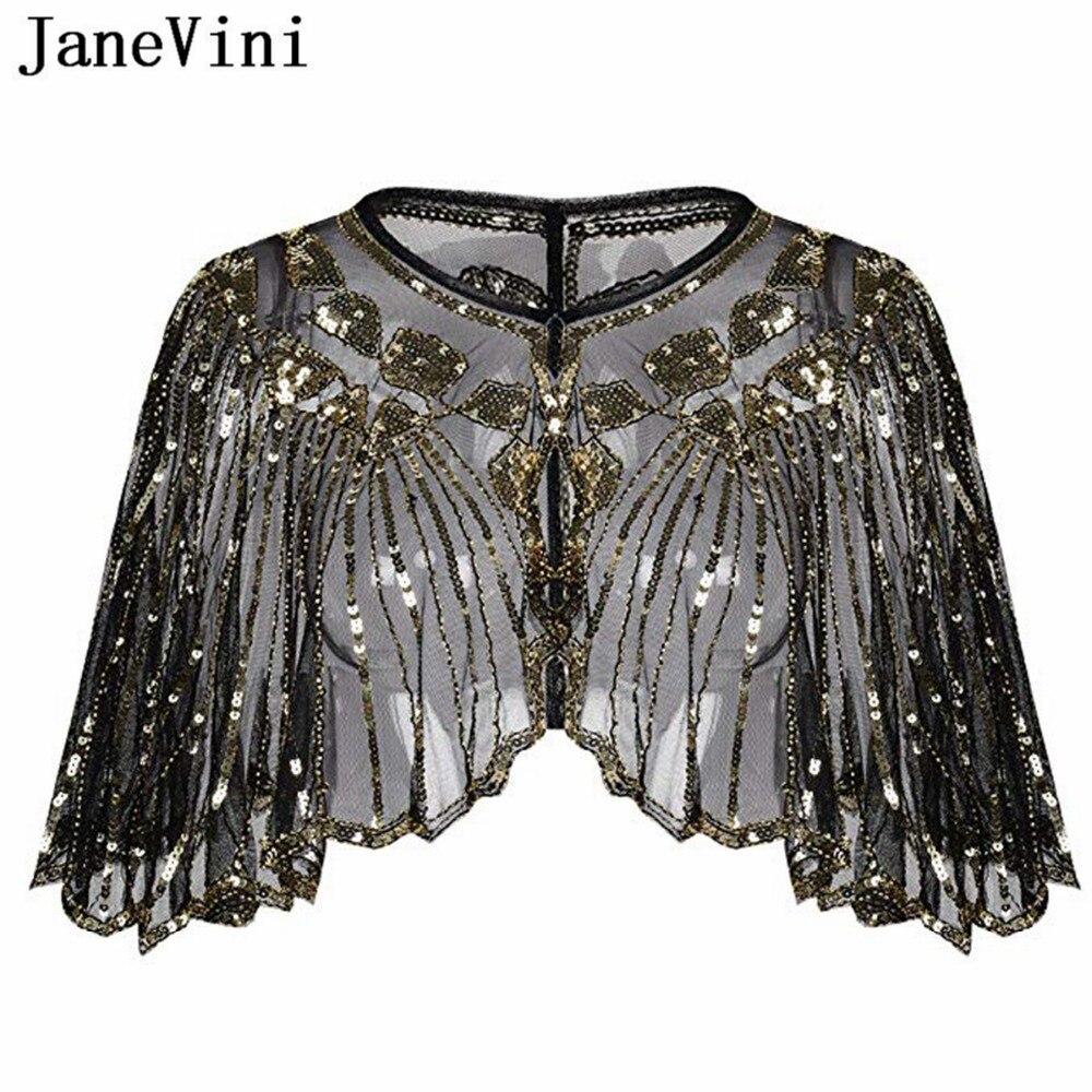 Женская накидка-болеро JaneVini, короткая накидка для невесты черного и золотого цвета, расшитая блестками, для свадьбы