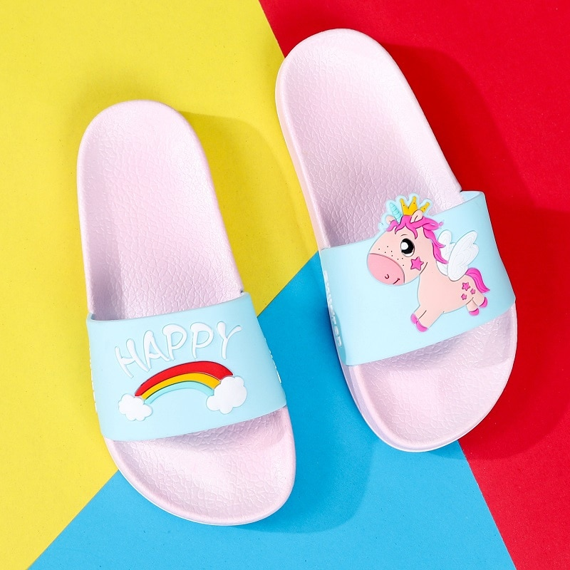 Zapatillas de niños zapatillas de unicornio para niños Arco Iris perro niñas verano playa baño Zapatos bebé niño unicornio Animal zapatillas PVC