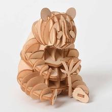 القطع بالليزر لتقوم بها بنفسك الحيوان القط الكلب الباندا اللعب ثلاثية الأبعاد خشبية لغز لعبة التجمع نموذج الخشب عدة أشغال يدوية مكتب الديكور للأطفال طفل
